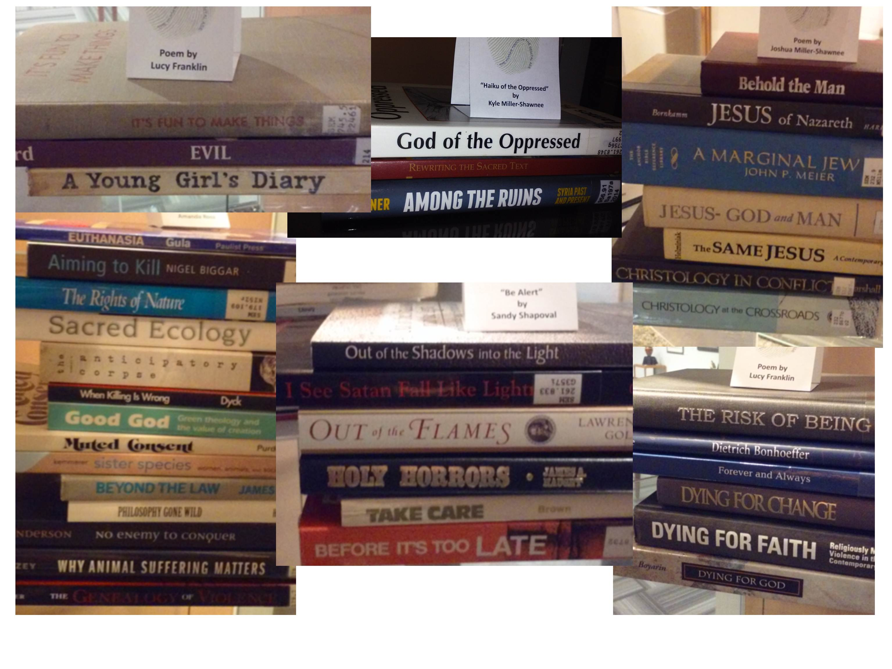 TLM 2016 Book Spine Poetry Phillips Seminary Library